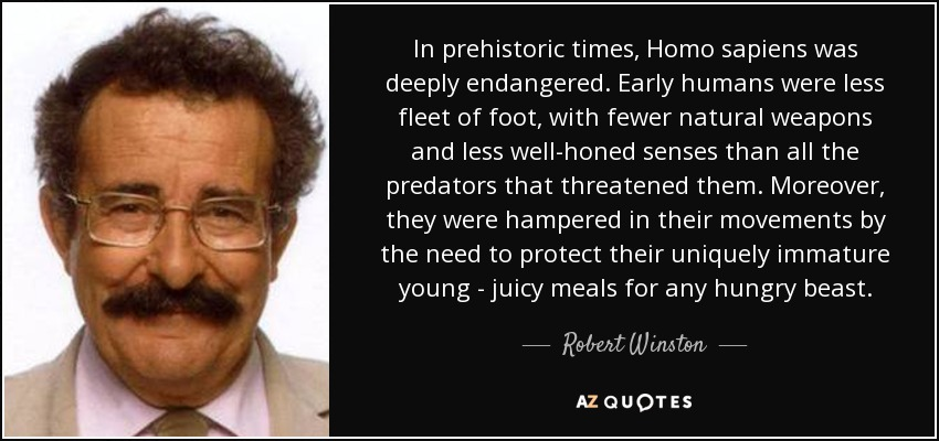 In prehistoric times, Homo sapiens was deeply endangered. Early humans were less fleet of foot, with fewer natural weapons and less well-honed senses than all the predators that threatened them. Moreover, they were hampered in their movements by the need to protect their uniquely immature young - juicy meals for any hungry beast. - Robert Winston