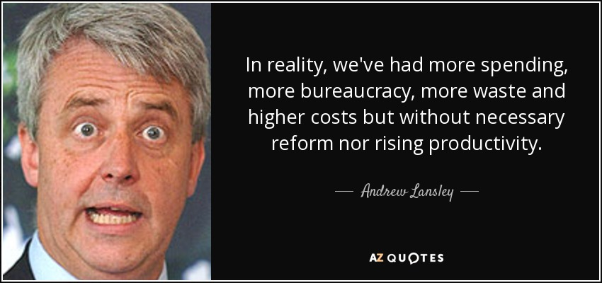In reality, we've had more spending, more bureaucracy, more waste and higher costs but without necessary reform nor rising productivity. - Andrew Lansley