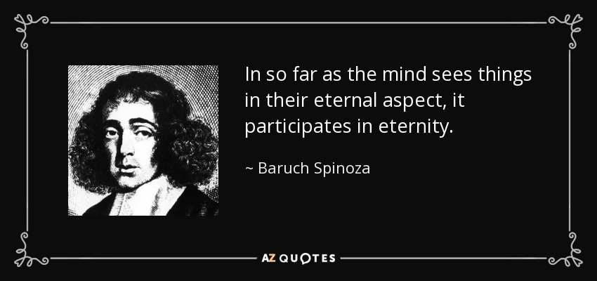 In so far as the mind sees things in their eternal aspect, it participates in eternity. - Baruch Spinoza
