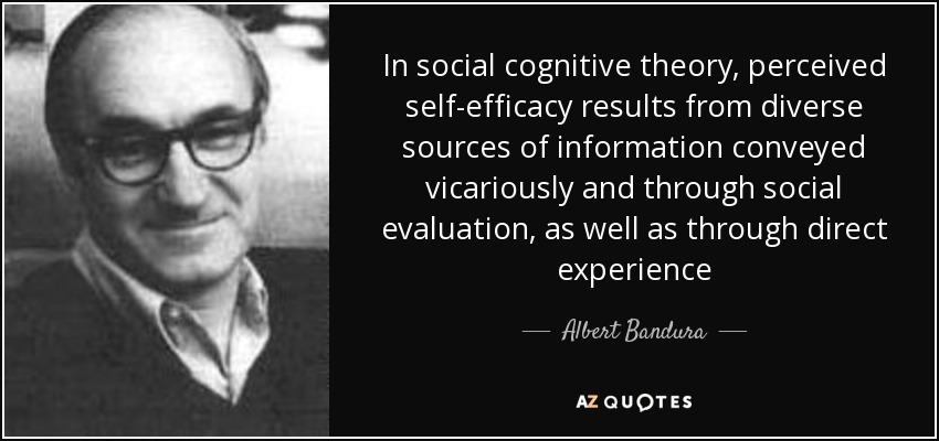 In social cognitive theory, perceived self-efficacy results from diverse sources of information conveyed vicariously and through social evaluation, as well as through direct experience - Albert Bandura