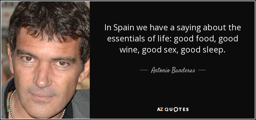 In Spain we have a saying about the essentials of life: good food, good wine, good sex, good sleep. - Antonio Banderas