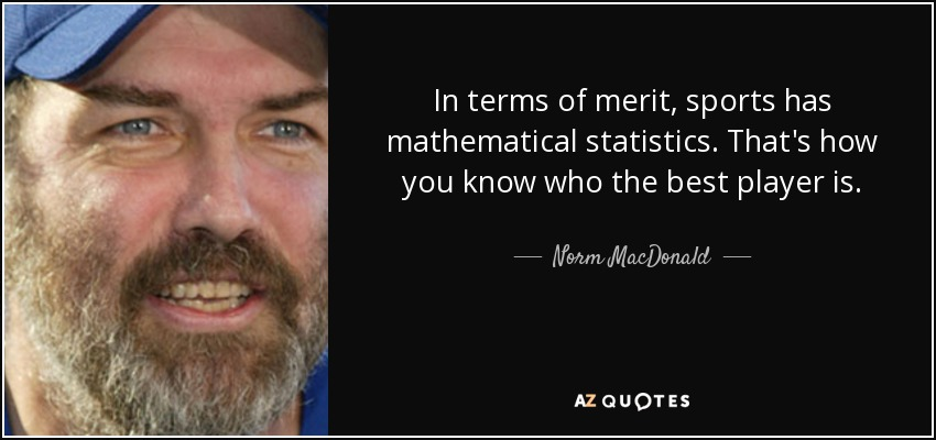 In terms of merit, sports has mathematical statistics. That's how you know who the best player is. - Norm MacDonald