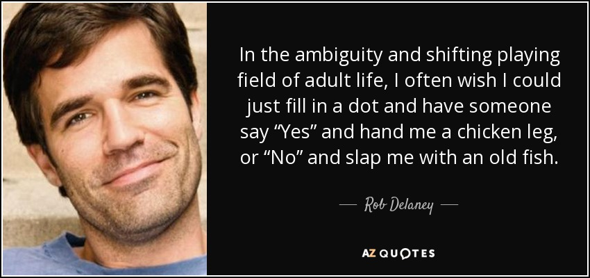 """In the ambiguity and shifting playing field of adult life, I often wish I could just fill in a dot and have someone say """"Yes"""" and hand me a chicken leg, or """"No"""" and slap me with an old fish. - Rob Delaney"""