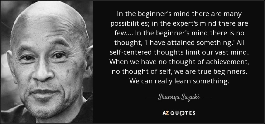 Shunryu Suzuki quote: In the beginner's mind there are many ...