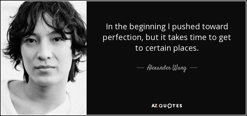 In the beginning I pushed toward perfection, but it takes time to get to certain places. - Alexander Wang