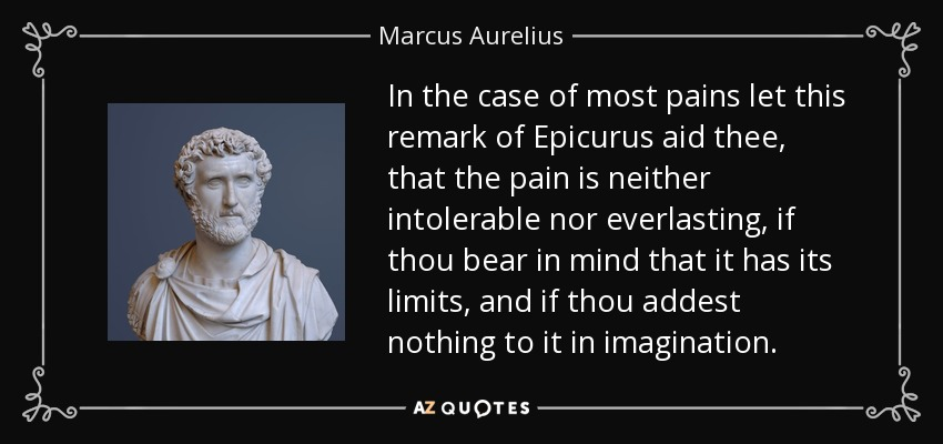 In the case of most pains let this remark of Epicurus aid thee, that the pain is neither intolerable nor everlasting, if thou bear in mind that it has its limits, and if thou addest nothing to it in imagination. - Marcus Aurelius
