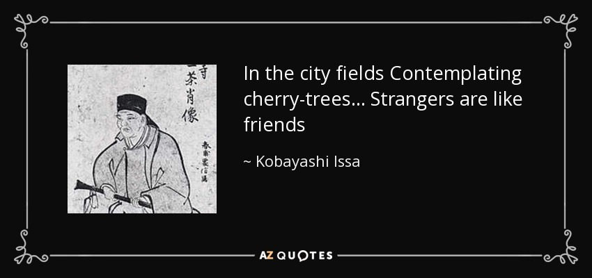 In the city fields Contemplating cherry-trees... Strangers are like friends - Kobayashi Issa