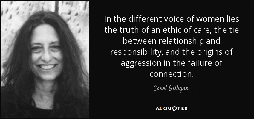 In the different voice of women lies the truth of an ethic of care, the tie between relationship and responsibility, and the origins of aggression in the failure of connection. - Carol Gilligan