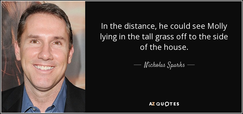 In the distance, he could see Molly lying in the tall grass off to the side of the house. - Nicholas Sparks