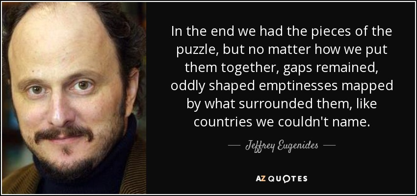In the end we had the pieces of the puzzle, but no matter how we put them together, gaps remained, oddly shaped emptinesses mapped by what surrounded them, like countries we couldn't name. - Jeffrey Eugenides