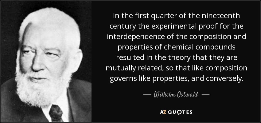 In the first quarter of the nineteenth century the experimental proof for the interdependence of the composition and properties of chemical compounds resulted in the theory that they are mutually related, so that like composition governs like properties, and conversely. - Wilhelm Ostwald