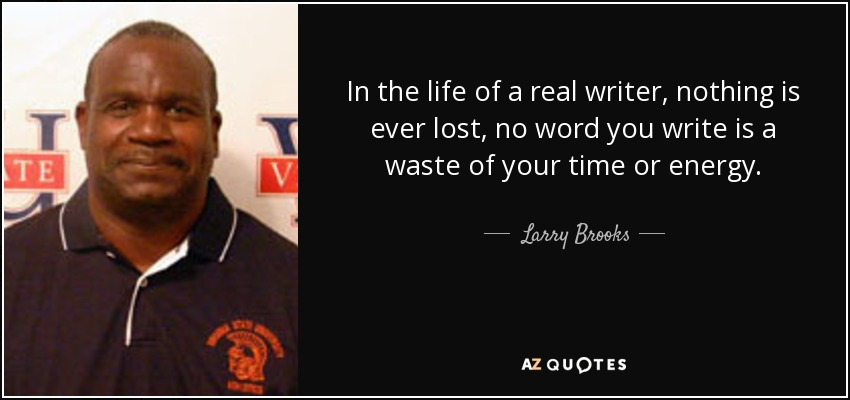 In the life of a real writer, nothing is ever lost, no word you write is a waste of your time or energy. - Larry Brooks