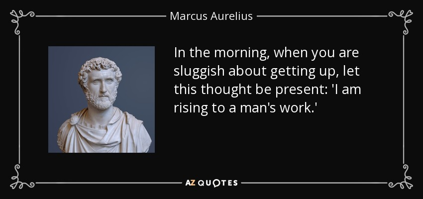 In the morning, when you are sluggish about getting up, let this thought be present: 'I am rising to a man's work.' - Marcus Aurelius