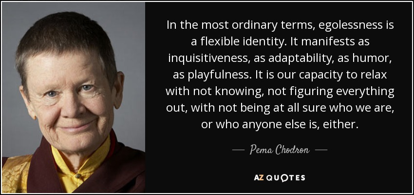 In the most ordinary terms, egolessness is a flexible identity. It manifests as inquisitiveness , as adaptability, as humor, as playfulness. It is our capacity to relax with not knowing, not figuring everything out, with not being at all sure who we are, or who anyone else is, either. - Pema Chodron