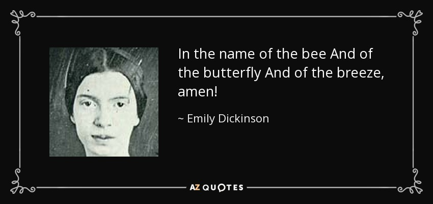 In the name of the bee And of the butterfly And of the breeze, amen! - Emily Dickinson