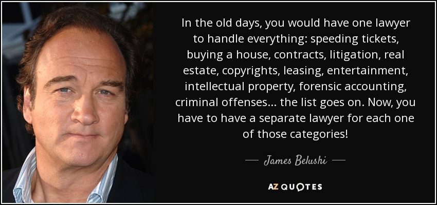 In the old days, you would have one lawyer to handle everything: speeding tickets, buying a house, contracts, litigation, real estate, copyrights, leasing, entertainment, intellectual property, forensic accounting, criminal offenses... the list goes on. Now, you have to have a separate lawyer for each one of those categories! - James Belushi