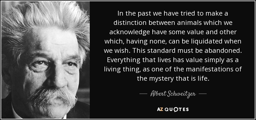 In the past we have tried to make a distinction between animals which we acknowledge have some value and other which, having none, can be liquidated when we wish. This standard must be abandoned. Everything that lives has value simply as a living thing, as one of the manifestations of the mystery that is life. - Albert Schweitzer