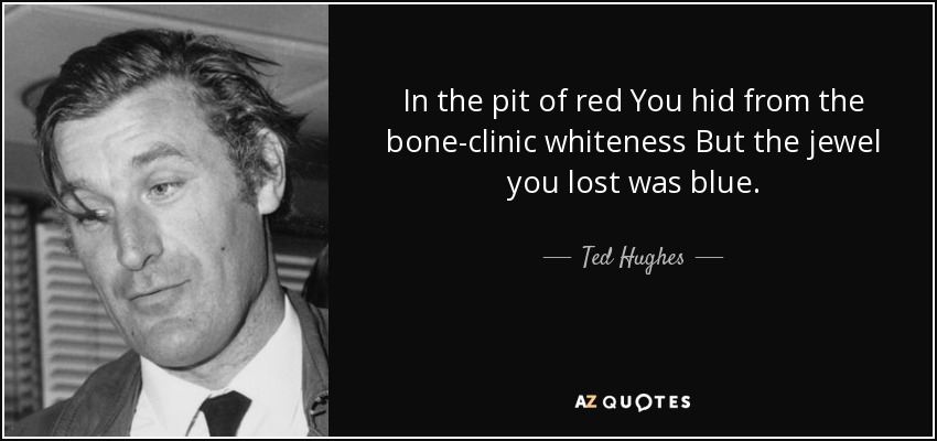In the pit of red You hid from the bone-clinic whiteness But the jewel you lost was blue. - Ted Hughes