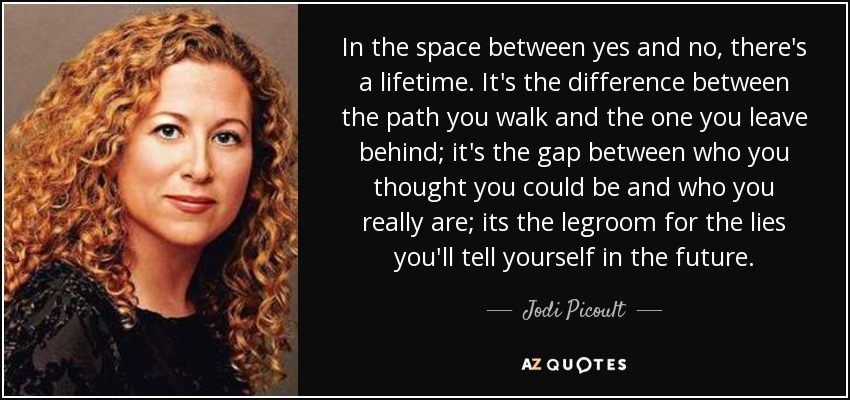 In the space between yes and no, there's a lifetime. It's the difference between the path you walk and the one you leave behind; it's the gap between who you thought you could be and who you really are; its the legroom for the lies you'll tell yourself in the future. - Jodi Picoult