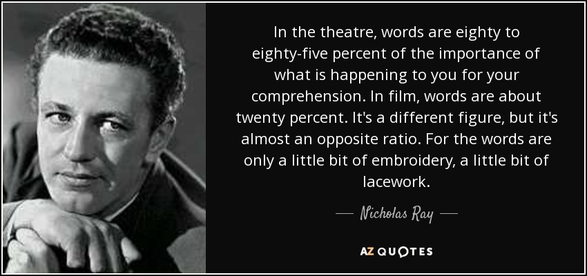 Nicholas Ray quote: In the theatre, words are eighty to eighty ...