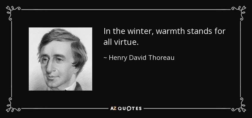In the winter, warmth stands for all virtue. - Henry David Thoreau
