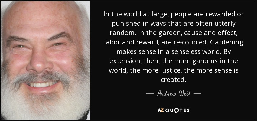 In the world at large, people are rewarded or punished in ways that are often utterly random. In the garden, cause and effect, labor and reward, are re-coupled. Gardening makes sense in a senseless world. By extension, then, the more gardens in the world, the more justice, the more sense is created. - Andrew Weil