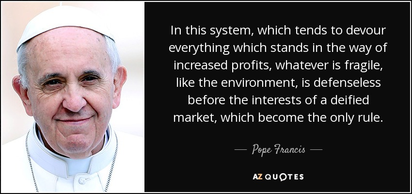 In this system, which tends to devour everything which stands in the way of increased profits, whatever is fragile, like the environment, is defenseless before the interests of a deified market, which become the only rule. - Pope Francis