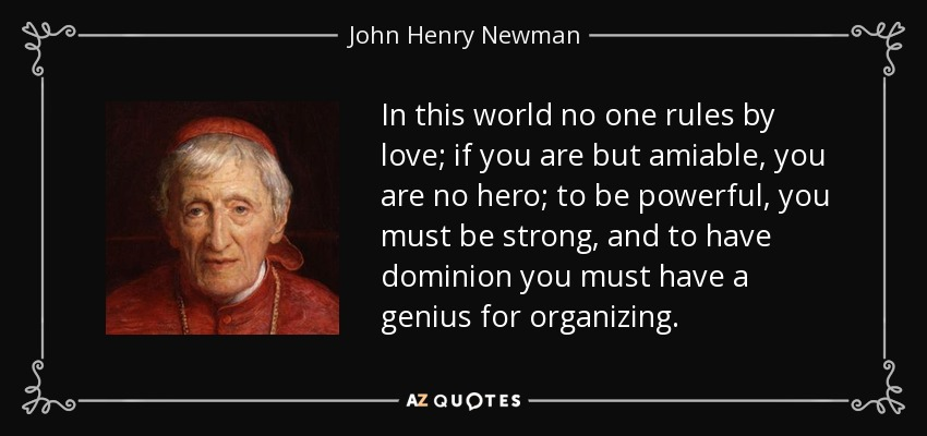 In this world no one rules by love; if you are but amiable, you are no hero; to be powerful, you must be strong, and to have dominion you must have a genius for organizing. - John Henry Newman
