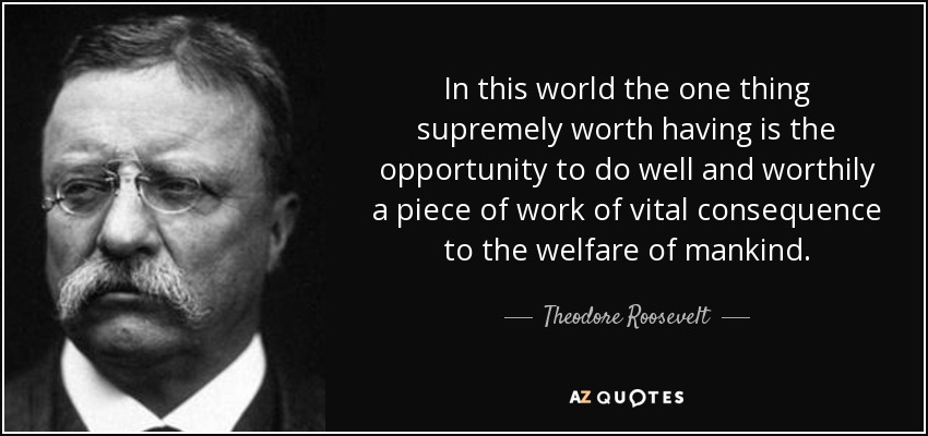 In this world the one thing supremely worth having is the opportunity to do well and worthily a piece of work of vital consequence to the welfare of mankind. - Theodore Roosevelt