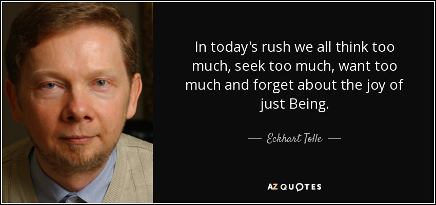 In today's rush we all think too much, seek too much, want too much and forget about the joy of just Being. - Eckhart Tolle
