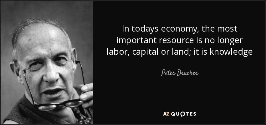 In todays economy, the most important resource is no longer labor, capital or land; it is knowledge - Peter Drucker