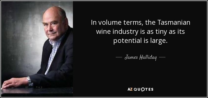 In volume terms, the Tasmanian wine industry is as tiny as its potential is large. - James Halliday