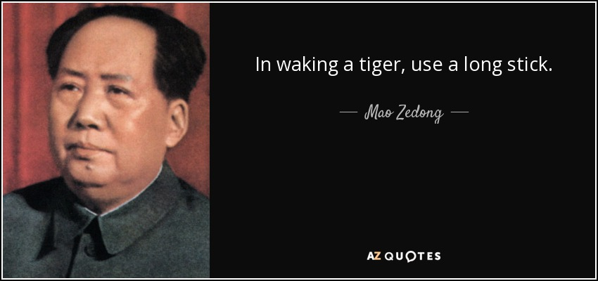 In waking a tiger, use a long stick. - Mao Zedong