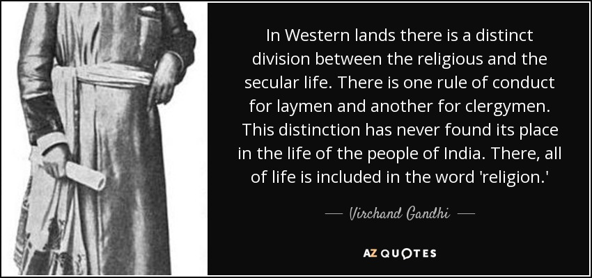 Virchand Gandhi Quote In Western Lands There Is A Distinct Division