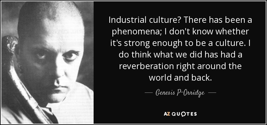 Industrial culture? There has been a phenomena; I don't know whether it's strong enough to be a culture. I do think what we did has had a reverberation right around the world and back. - Genesis P-Orridge