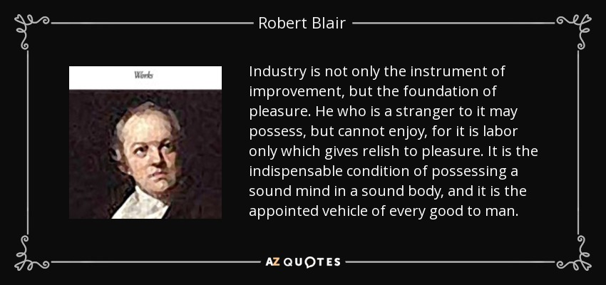 Industry is not only the instrument of improvement, but the foundation of pleasure. He who is a stranger to it may possess, but cannot enjoy, for it is labor only which gives relish to pleasure. It is the indispensable condition of possessing a sound mind in a sound body, and it is the appointed vehicle of every good to man. - Robert Blair