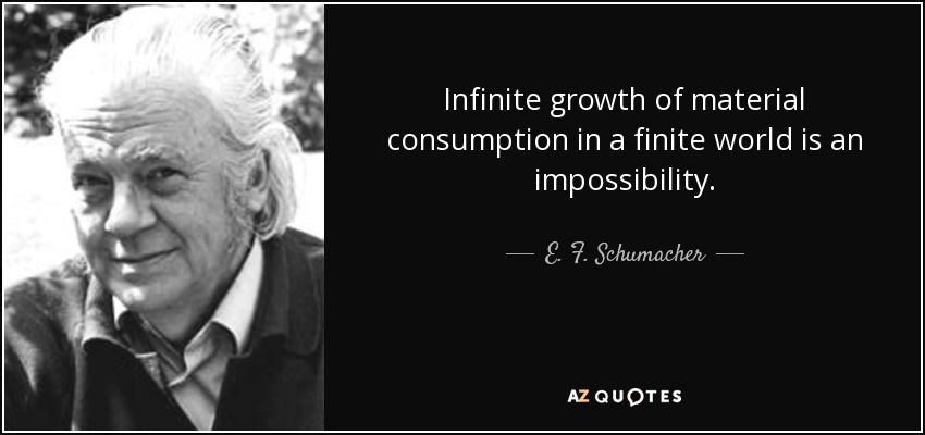 Infinite growth of material consumption in a finite world is an impossibility. - E. F. Schumacher