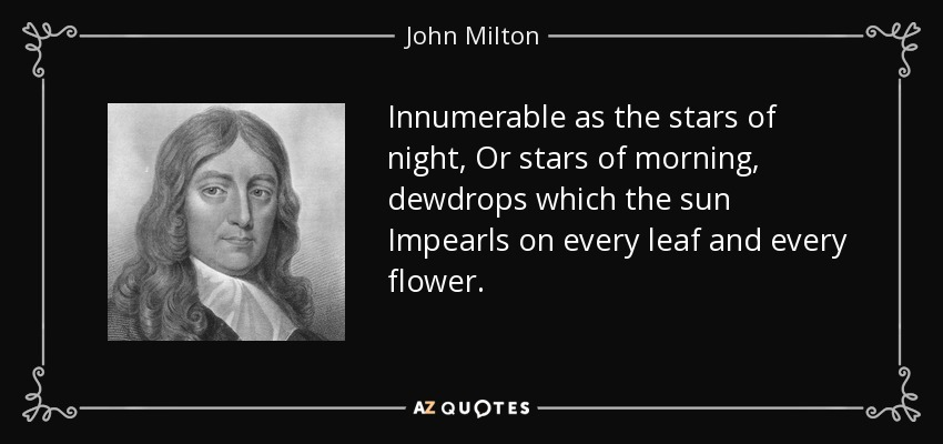Innumerable as the stars of night, Or stars of morning, dewdrops which the sun Impearls on every leaf and every flower. - John Milton
