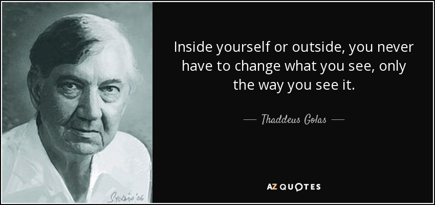 Inside yourself or outside, you never have to change what you see, only the way you see it. - Thaddeus Golas