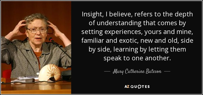 Insight, I believe, refers to the depth of understanding that comes by setting experiences, yours and mine, familiar and exotic, new and old, side by side, learning by letting them speak to one another. - Mary Catherine Bateson