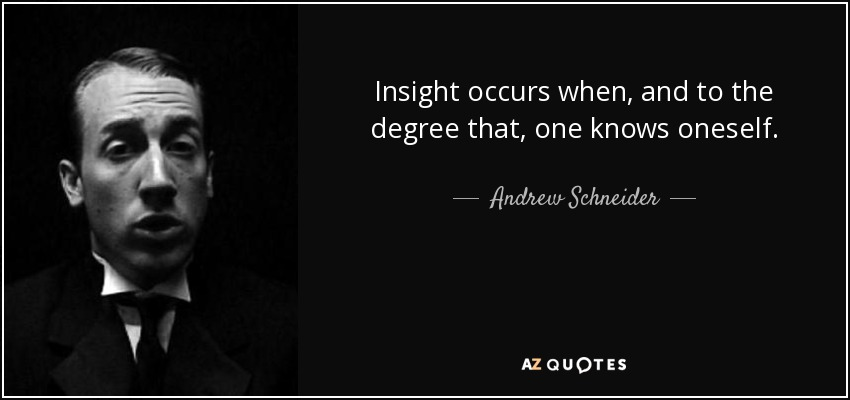 Insight occurs when, and to the degree that, one knows oneself. - Andrew Schneider