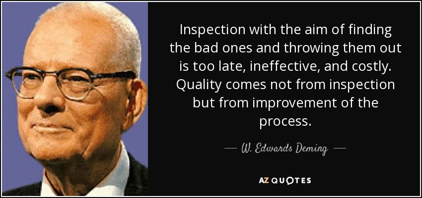 Inspection with the aim of finding the bad ones and throwing them out is too late, ineffective, and costly. Quality comes not from inspection but from improvement of the process. - W. Edwards Deming