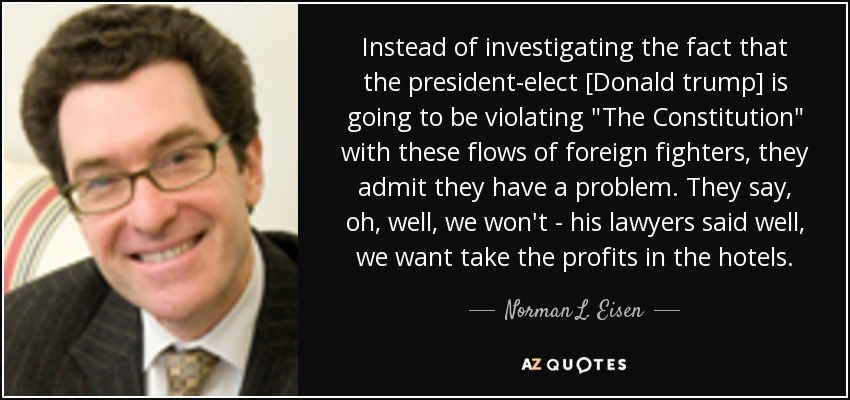 Instead of investigating the fact that the president-elect [Donald trump] is going to be violating