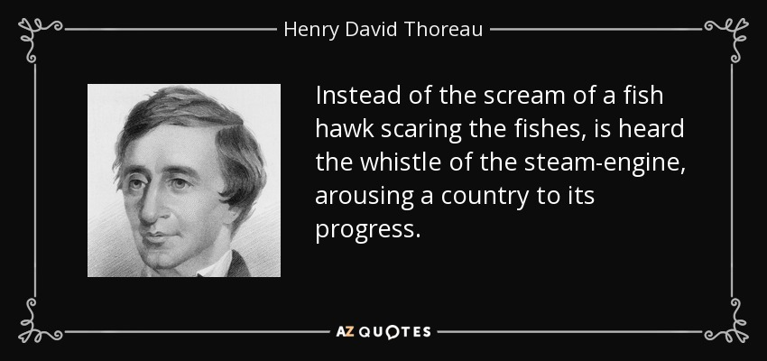 Instead of the scream of a fish hawk scaring the fishes, is heard the whistle of the steam-engine, arousing a country to its progress. - Henry David Thoreau