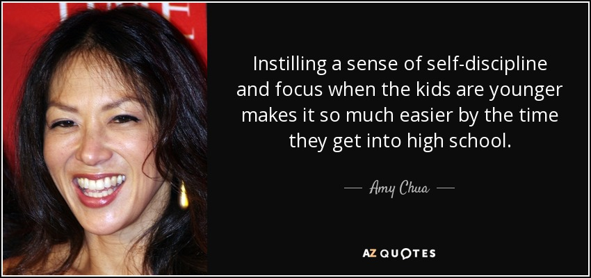Amy Chua Quote Instilling A Sense Of Self Discipline And Focus When