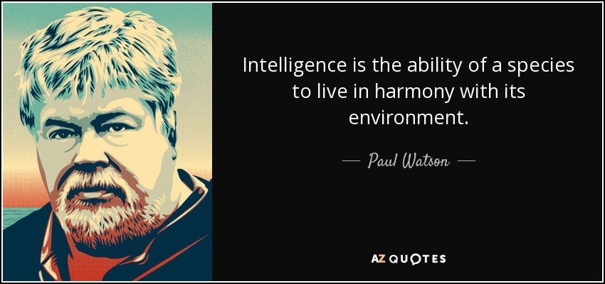 Intelligence is the ability of a species to live in harmony with its environment. - Paul Watson