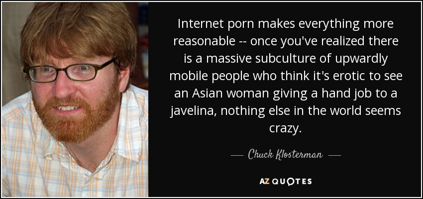 Internet porn makes everything more reasonable -- once you've realized there is a massive subculture of upwardly mobile people who think it's erotic to see an Asian woman giving a hand job to a javelina, nothing else in the world seems crazy. - Chuck Klosterman