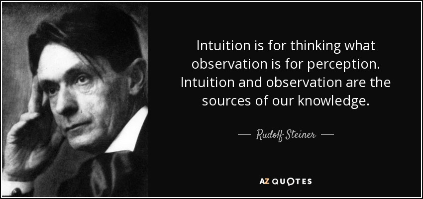 Intuition Quotes   Rudolf Steiner Quote Intuition Is For Thinking What Observation Is