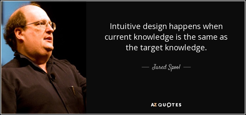 Intuitive design happens when current knowledge is the same as the target knowledge. - Jared Spool