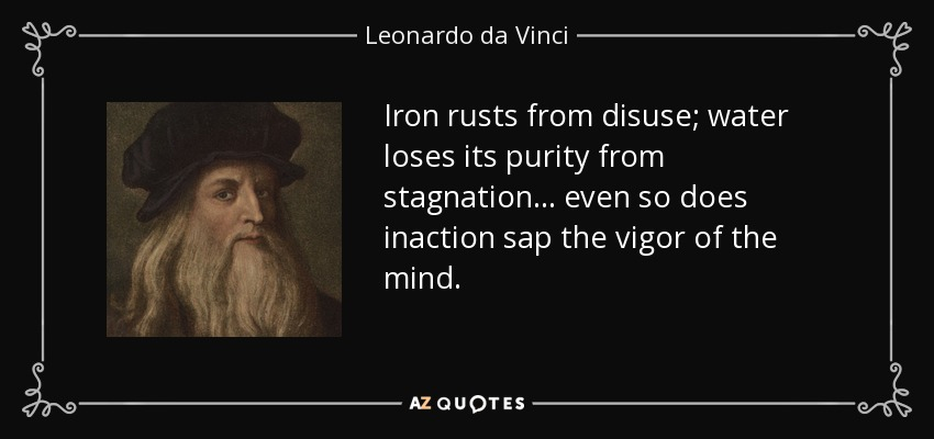 Iron rusts from disuse; water loses its purity from stagnation... even so does inaction sap the vigor of the mind. - Leonardo da Vinci